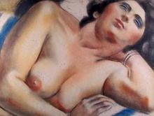 安德烈·洛特 - 版画 - portrait de femme nue en buste