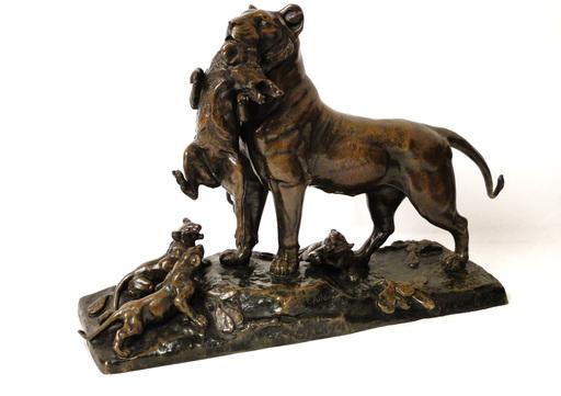Auguste Nicolas CAIN - Escultura - Sculpture Bronze Lionne Sanglier A.Cain Susse Frères XIXè