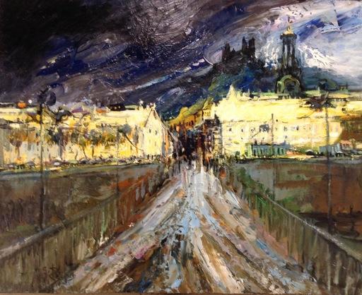Gilbert PECOUD - Peinture - Lyon, pont de la Guillotière