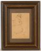 "Emil ORLIK - Zeichnung Aquarell - ""To Brest-Litovsk!"" (grotesque self-portrait), drawing"