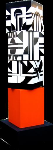Michel BISBARD - Sculpture-Volume - Petit totem rouge