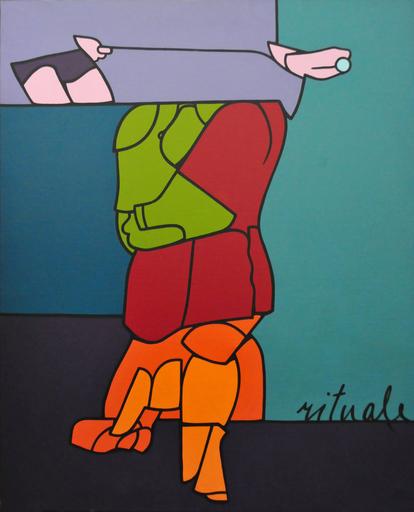 Valerio ADAMI - Painting - Studio per rituale