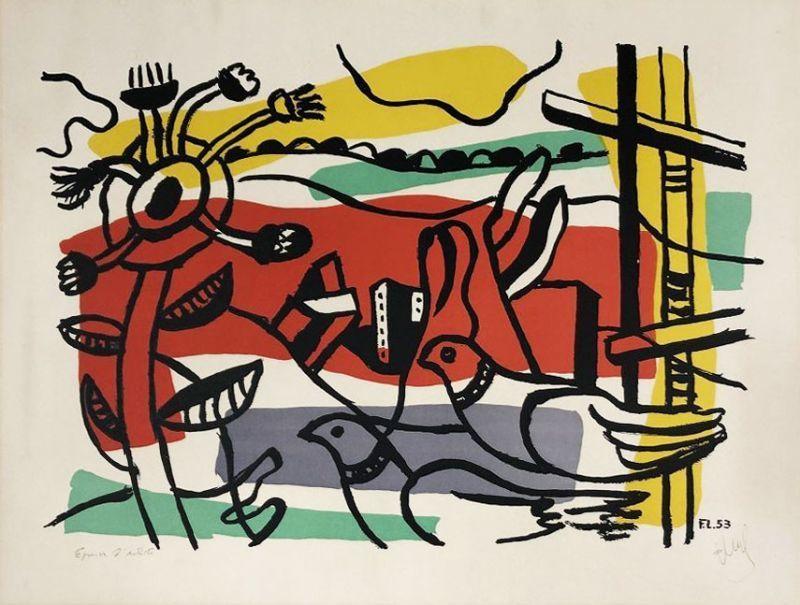 Fernand LÉGER - Druckgrafik-Multiple - Composition aux deux oiseaux