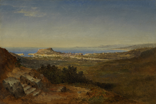 Carl MORGENSTERN - Painting - Nizza mit dem Saint-Jean-Cap-Ferrat und der Côte d'Azur.