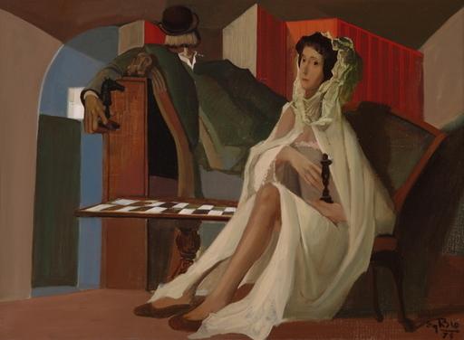 Eugène DE BIE - Peinture - Les Joueurs d'échecs