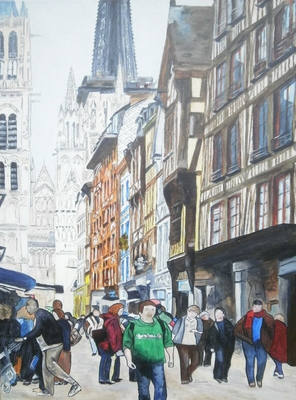 Joël FOUGMAN - Gemälde - Rue de Rouen