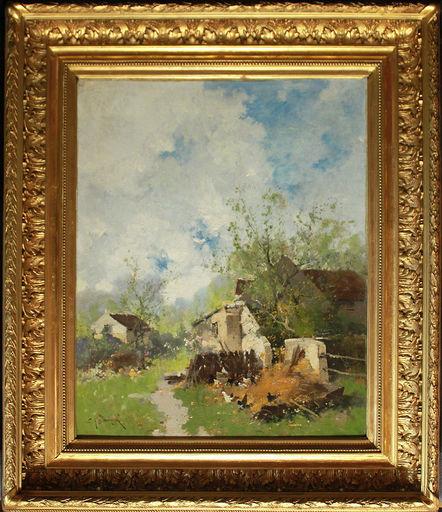 Eugène GALIEN-LALOUE - Painting - Bauernhof mit Hühnern
