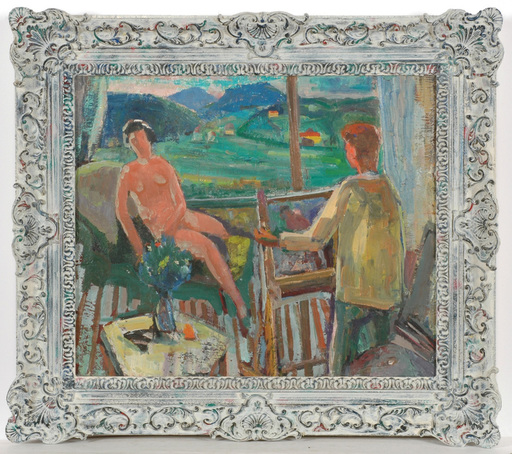 """Frederick SERGER - Painting - Frederick Serger (1889-1965) """"Artist and model"""" oil, ca.1954"""