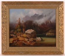 "Ludwig NEELMEYER - Painting - ""Alpine Landscape"", 1849, Oil/Panel"