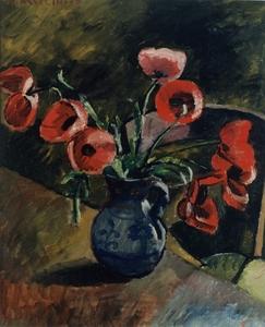 Maurice ASSELIN - Pintura - Poppies, 1919