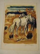 Yves BRAYER - Print-Multiple - Chevaux à l'Etang bleu,1961.