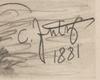 "Carl I JUTZ - Drawing-Watercolor - ""Duck Family"", 1881, Drawing"