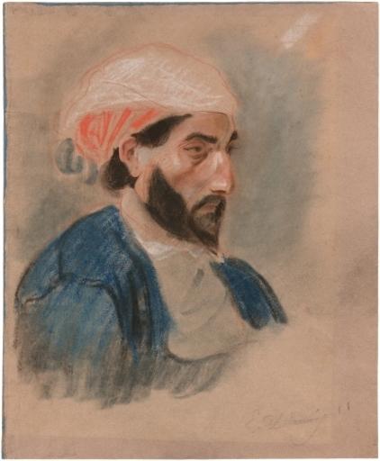Eugène DELACROIX - Drawing-Watercolor - Portrait d'Oriental au turban