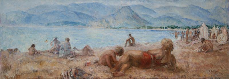 Henri Baptiste LEBASQUE - Peinture - Baigneurs sur la plage de Cagnes-sur-Mer