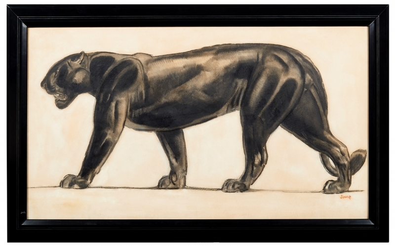 Paul JOUVE - Dessin-Aquarelle - Panthère noire marchant