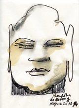 Ladislas KIJNO - Drawing-Watercolor - DESSIN FEUTRE AQUARELLE SIGNÉ MAIN HANDSIGNED DRAWING BOUDHA