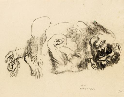 Ludwig Heinrich JUNGNICKEL - Zeichnung Aquarell - Liegender Affe