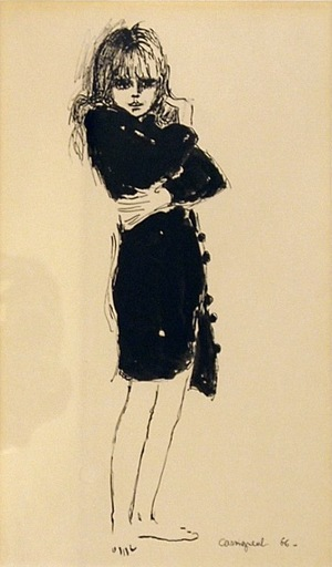 Jean-Pierre CASSIGNEUL - Drawing-Watercolor - Junge Frau im Mantel / Young woman in a coat