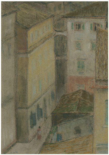 Ludwig VON HOFMANN - Drawing-Watercolor - Straße in Korfu.