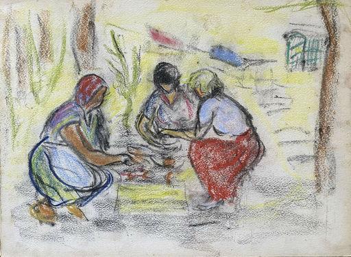 Raya SAFIR - Drawing-Watercolor - 3 femmes au jardin
