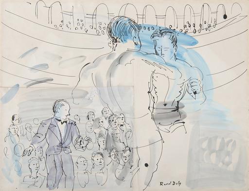 Raoul DUFY - Zeichnung Aquarell - Etude pour le combat de boxe, Primo Carnera à l'Albert-Hall