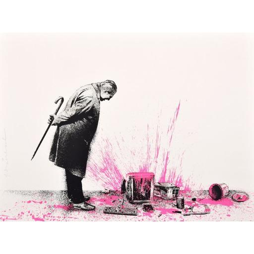 "MR BRAINWASH - Estampe-Multiple - Mr. Brainwash ""Glitch - Pink"" Screenprint, Signed Edition"