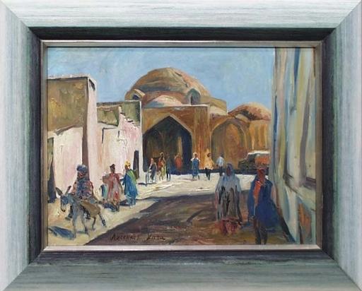 """Valentin Aleksandroh LISENKOV - Peinture - """"Street Scene in Khiva"""", Oil Painting, 1960's"""