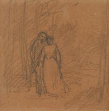 卡米耶•毕沙罗 - 水彩作品 - Couple on a Forest Path