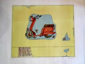 "Ilya KABAKOV - Estampe-Multiple - Motorcycle, From ""The Beautiful Sixties"" 1964-1969"