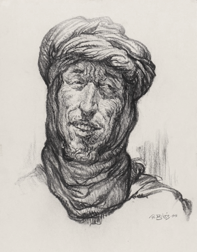 Aarón BILIS - 水彩作品 - A Chleuh member - Goulimine Morocco