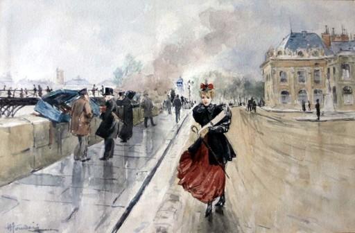 Henri JOURDAIN - Drawing-Watercolor - Sur les quais de Seine à Paris