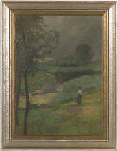 Carl WEISS - Painting - Evening, Oil Painting, ca 1900