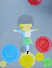 LIU Ye - Grabado - Girl with Balloons