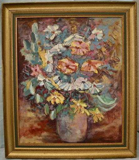Paul Émile GENEST - 绘画 - Bouquet de fleurs dans un vase.