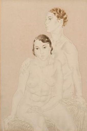Tsuguharu FOUJITA - Drawing-Watercolor - Les deux amies