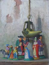 Robert CHAILLOUX - Painting - Crèche et lampe à huile