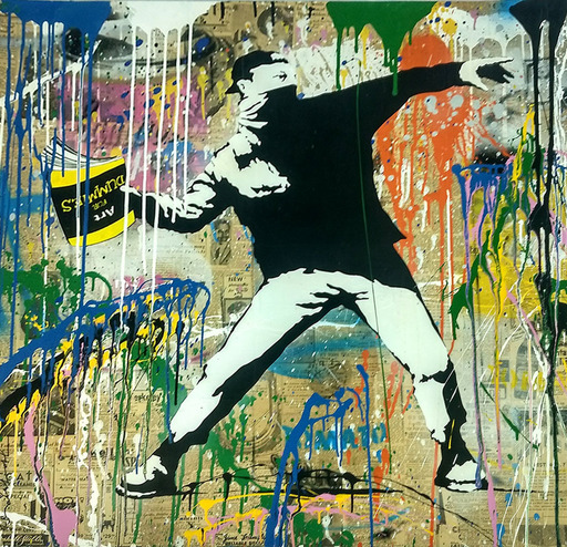 MR BRAINWASH - Pintura - Banksy Thrower