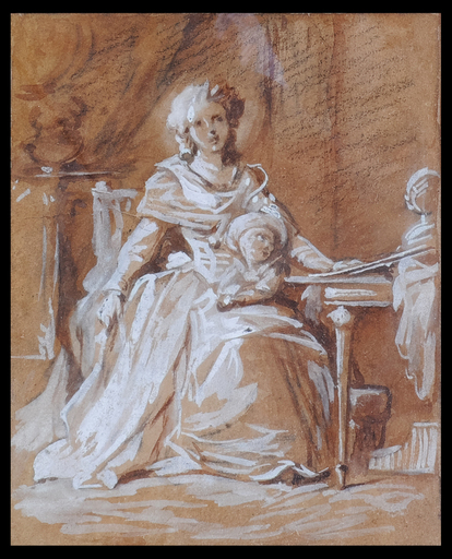 Jean Laurent MOSNIER - Disegno Acquarello - Portrait of a Lady wth Child