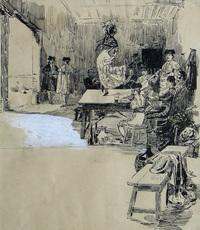 Ulpiano CHECA Y SANZ - Drawing-Watercolor - Cúchares -Colmenar de Oreja-España-taurina -Astruc