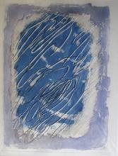 Jean FAUTRIER - Grabado - Ecriture sur fond bleu