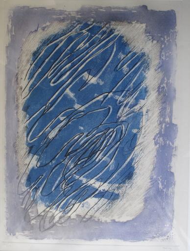 Jean FAUTRIER - Estampe-Multiple - Ecriture sur fond bleu