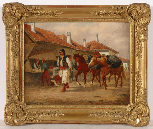 """Ludwig GEDLEK - Painting - """"Hungarian horse market"""", oil on panel, late 19th century"""