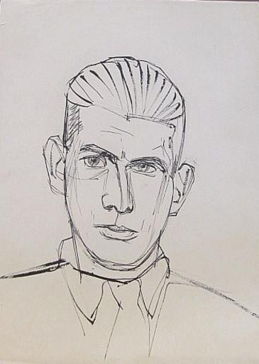 Erich HARTMANN - Disegno Acquarello - #19837: Porträt junger Mann.