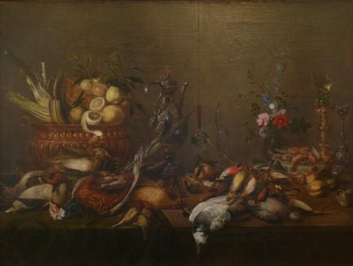 Frans YKENS - Pintura - Stilleben mit Obstkorb und Wildbret