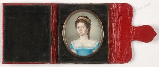 """Peter MAYR - Miniatur - """"Portrait of Josephine von Deutz"""", miniature on ivory, 1817"""