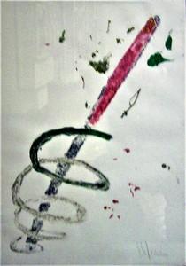 Aldo MONDINO - Peinture - Spirale rosso, bianco, verde