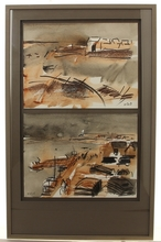 René QUÉRÉ (1932) - vues de ports en Bretagne