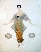 Léon BAKST - Drawing-Watercolor - Costume design for a lady