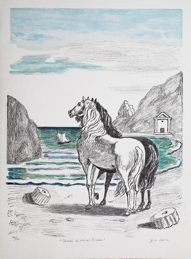 乔治•德•基里科 - 版画 - Cavalli in riva al tirreno, 1970