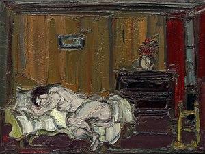 André COTTAVOZ - Pintura - Nu dans la chambre